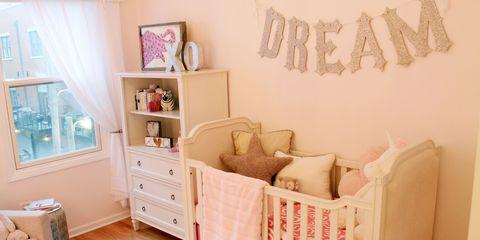 Room, Interior design, Wall, Furniture, Interior design, Peach, Home, Drawer, Bedding, Linens,