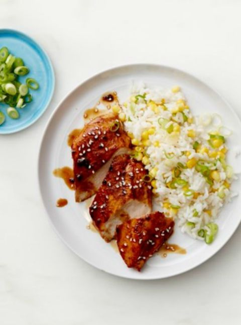 Heart Healthy Recipes - Sticky Chicken with Scallion and Corn Rice