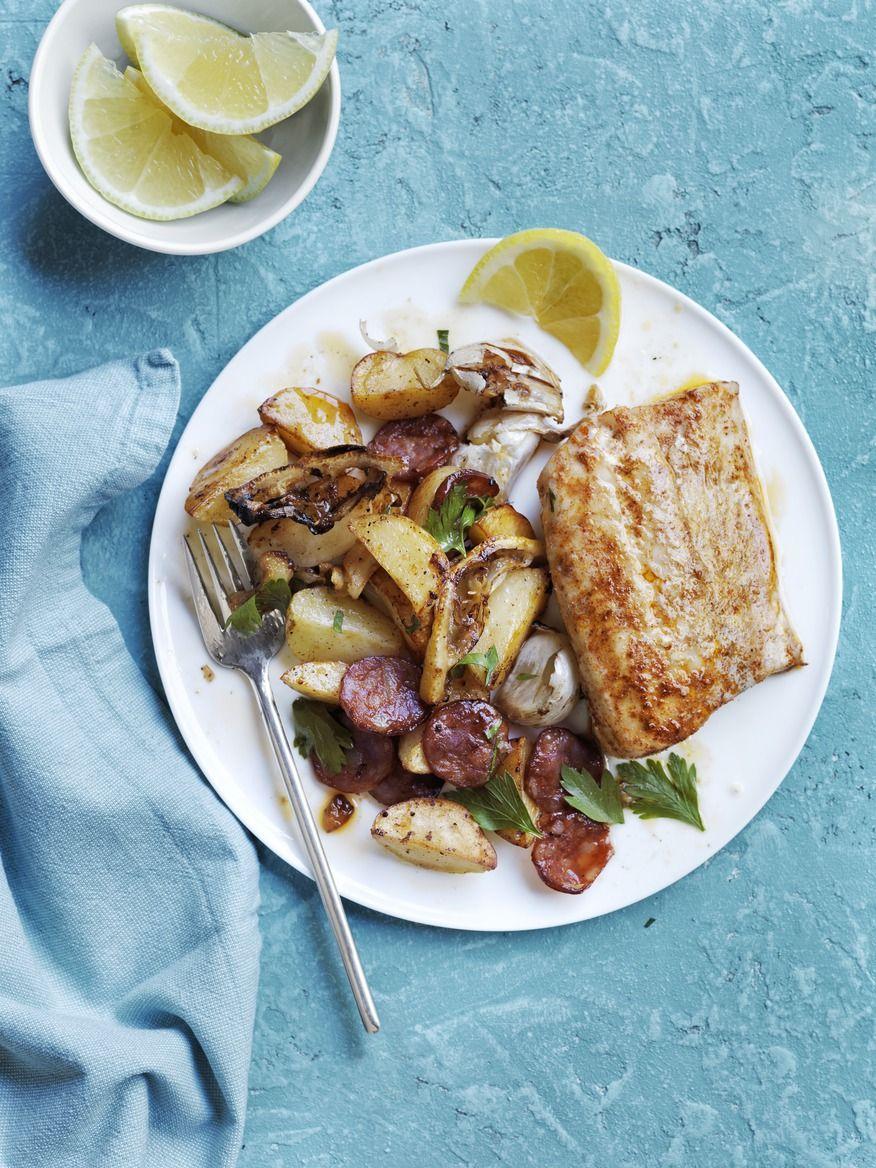 Roasted Cod, Potatoes, and Chorizo