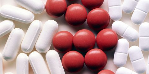 Red, Medicine, Pill, Carmine, Pharmaceutical drug, Analgesic, Nail, Prescription drug, Still life photography, Dietary supplement,