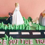 Green, Dress, Cake decorating, Gown, Cake, Dessert, Wedding dress, Cake decorating supply, Baked goods, Bride,