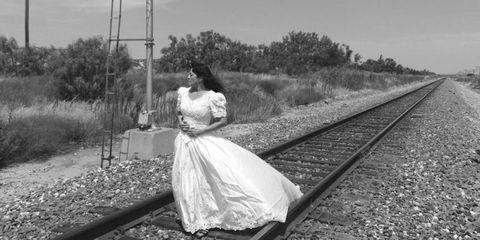 Clothing, Dress, Photograph, White, Monochrome, Monochrome photography, Style, Bridal clothing, Wedding dress, Gown,
