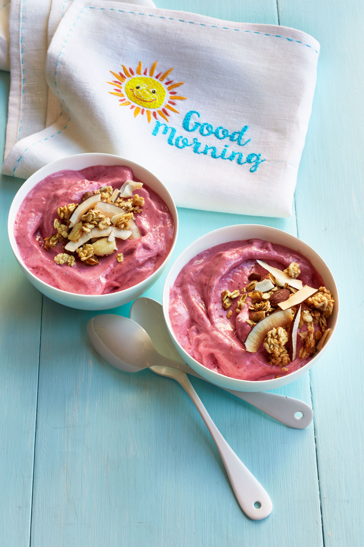 Raspberry Smoothie Bowls Kid-Friendly Breakfast Recipe