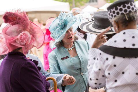 Hat, Fashion accessory, Pink, Headgear, Costume accessory, Sun hat, Polka dot, Costume hat, Necklace, Costume,