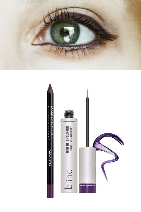 """<p>A color match made in Gucci heaven, there's nothing like a green-eyed girl with a purple eye. The red undertones in a deep plum will enhance your natural verdant hues, while still feeling totally wearable. <span></span></p><p>Try: <a href=""""http://bit.ly/1Pb6hEq"""" target=""""_blank"""">Aqua Eyes Waterproof Eyeliner Pencil in Black Purple</a> ($19) or <span></span><a href=""""http://www.dermstore.com/product_Eyeliner_59582.htm"""" target=""""_blank"""">Blinc Cosmetics Eyeliner in Dark Purple</a> ($26).<br></p>"""