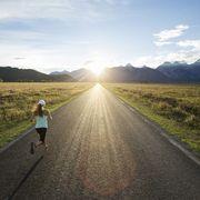Road, Infrastructure, Plain, People in nature, Sunlight, Highland, Asphalt, Horizon, Grassland, Field,