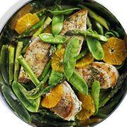 Orange Chicken, Asparagus, and Snow Peas Recipe