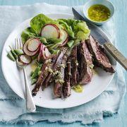 steak and spring salad