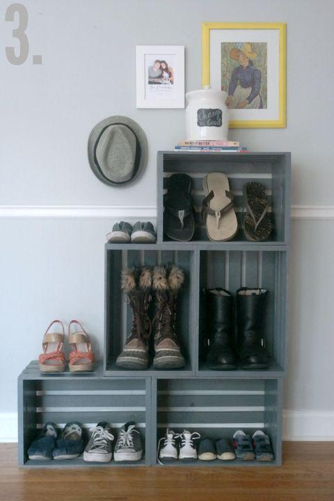 Wooden Crate Shoe Rack