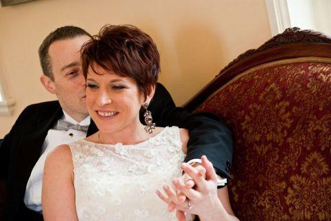 Ear, Coat, Outerwear, Bridal clothing, Happy, Dress, Formal wear, Bride, Interaction, Wedding dress,