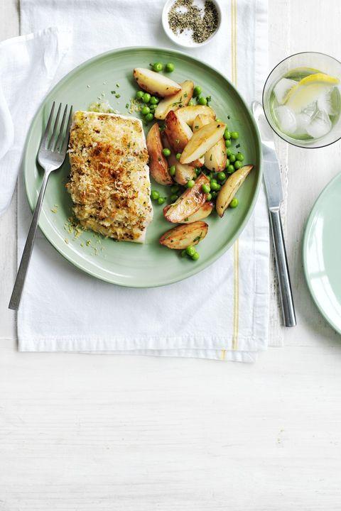 Crispy Cod With Pan Fried Potatoes And Peas