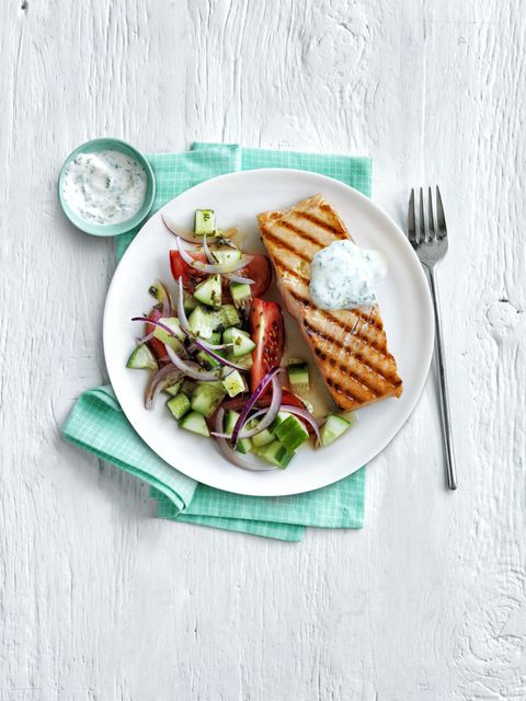 Grilled Salmon Greek Salad 30-Minute Meal