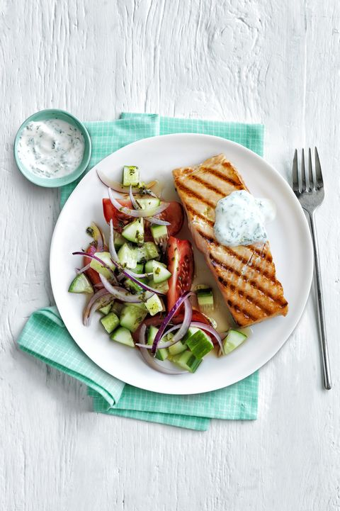 Grilled Salmon Greek Salad 30-Minute Meal
