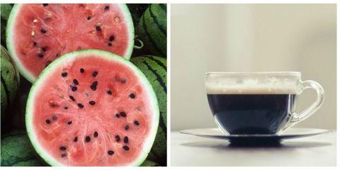 almonds watermelon coffee