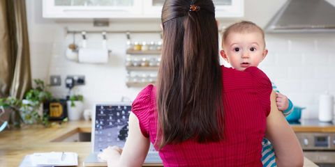 Arm, Hairstyle, Hand, Child, Baby & toddler clothing, Toddler, Countertop, Baby, Long hair, Blond,