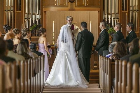 Event, Bridal clothing, Dress, Suit, Bridal veil, Coat, Wedding dress, Formal wear, Veil, Bride,