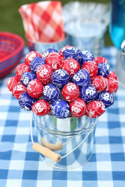 Courtesy Of Gluesticks Patriotic Lollipop Centerpiece Serving Double Duty This 4th July Table