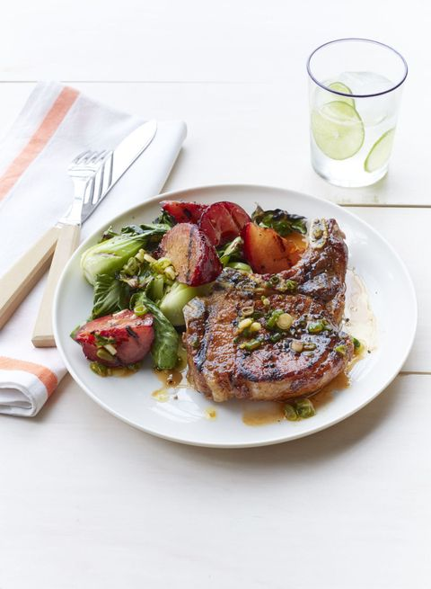 Heart Healthy Recipes -Grilled Pork Chops with Plum and Bok Choy