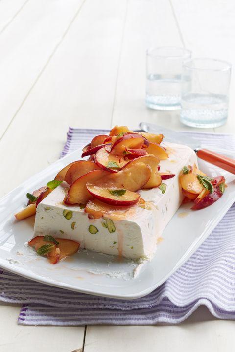 no bake desserts  semifreddo with honeyed peaches