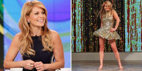 Dress, Beauty, Blond, Waist, Thigh, Trunk, High heels, One-piece garment, Long hair, Makeover,