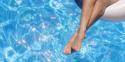 Fluid, Blue, Liquid, Aqua, Toe, Azure, Electric blue, Swimming pool, Foot, Ankle,