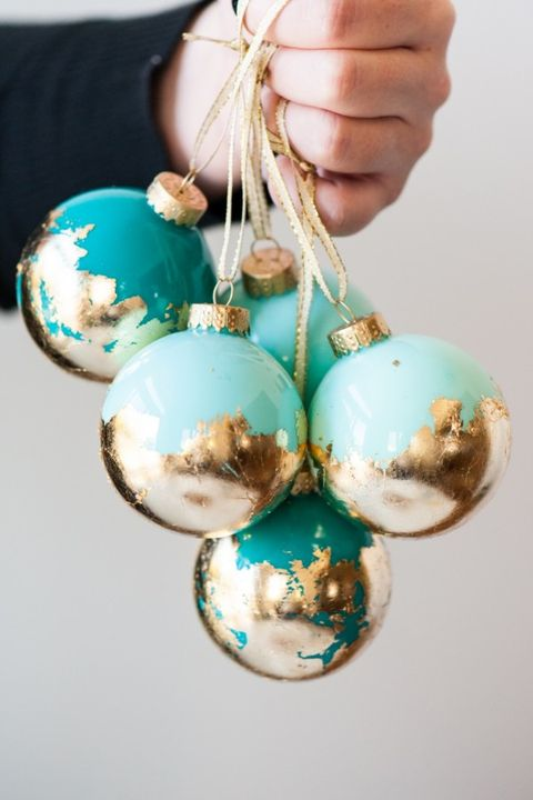 diy christmas ornaments painted gold leaf ornaments - Teal And Gold Christmas Decorations