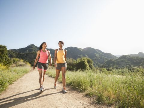 People in nature, Shorts, Hill, Travel, Trail, Friendship, Sunglasses, Walking, Chaparral, Shrubland,