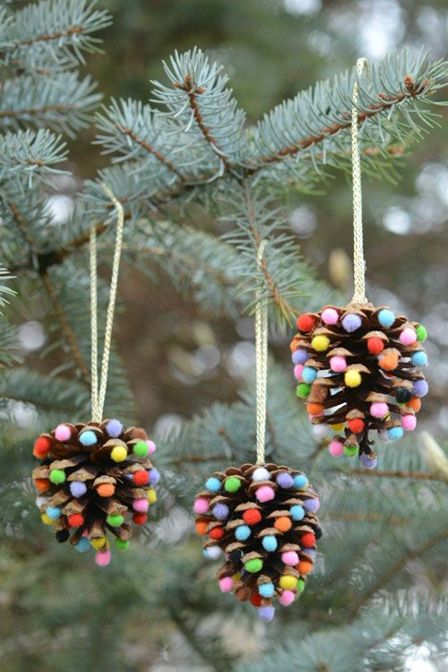 Diy Christmas Ornaments Pom Poms And Pinecones Christmas Ornaments