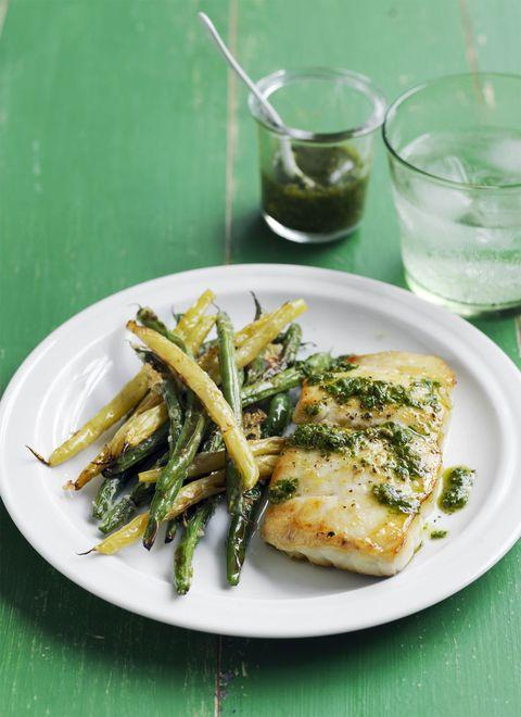 gluten free dinner - Cod with Crispy Green Beans Recipe