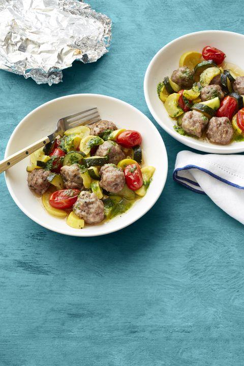 Sausage with Pesto Summer Vegetables Recipe