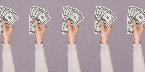 Skin, Green, Banknote, Paper product, Money, Cash, Paper, Currency, Dollar, Wrist,