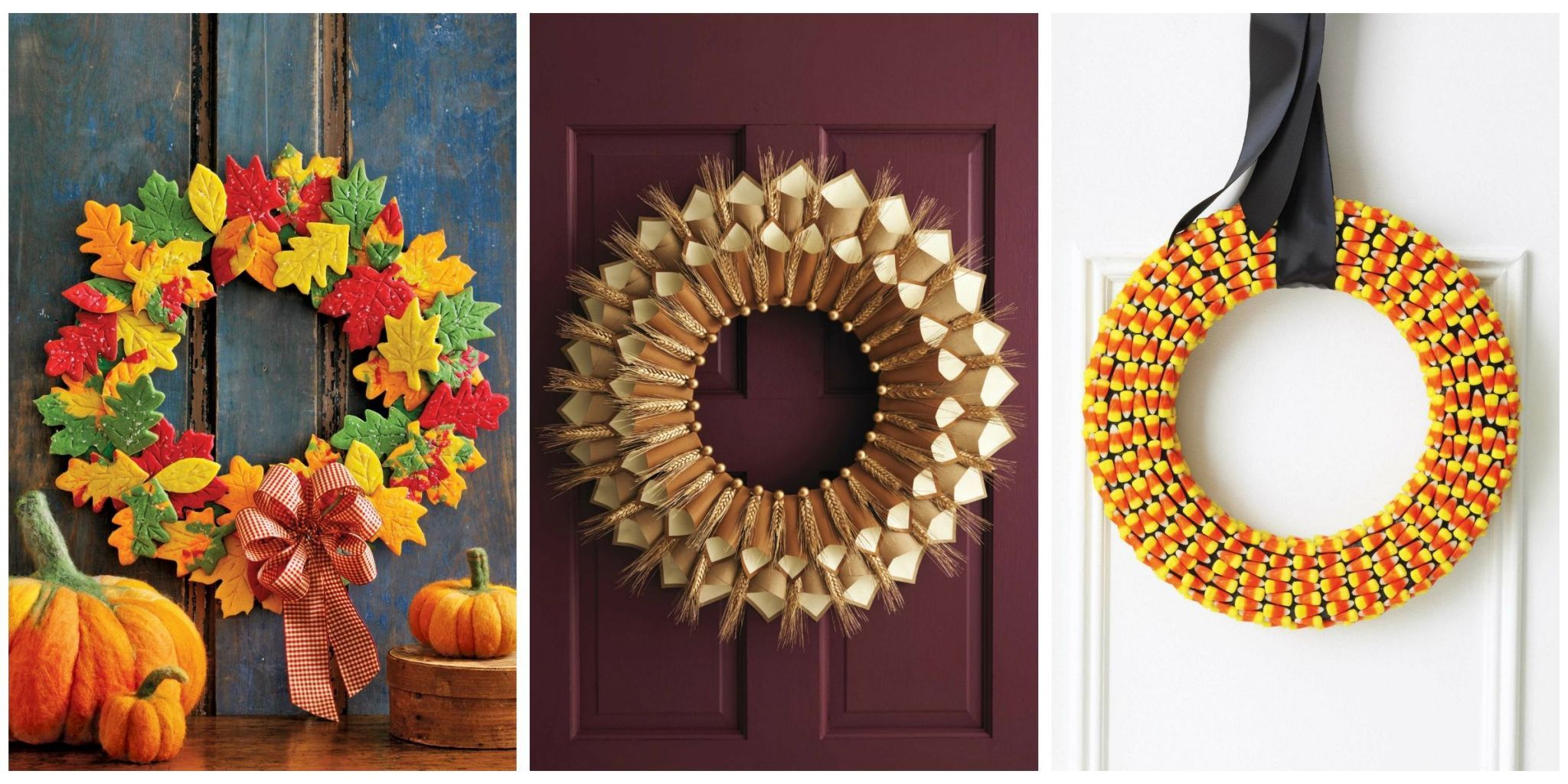 Celebrate the season with these easy front door decorations. & 20 DIY Fall Wreaths - Easy Ideas for Autumn Wreaths