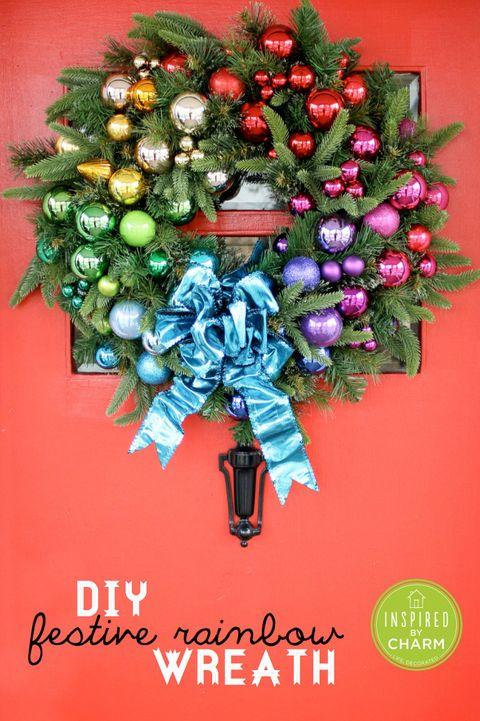 christmas wreaths festive rainbow wreath