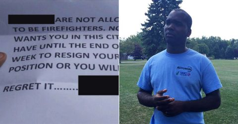 firefighter receives racist note