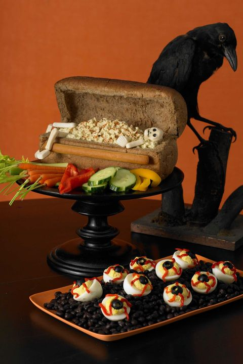 halloween appetizers bloodshot deviled eggs
