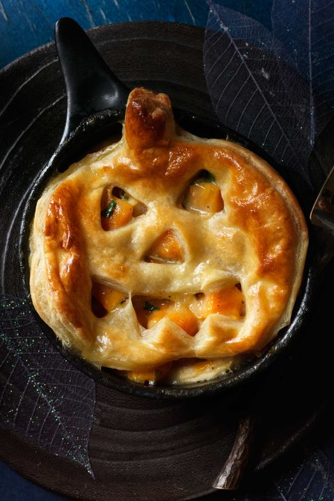 Jack-o'-Lantern Pot Pies Halloween Dinner Idea