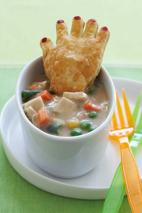 Chicken Pot Pie With Crawling Hands Halloween Dinner Idea