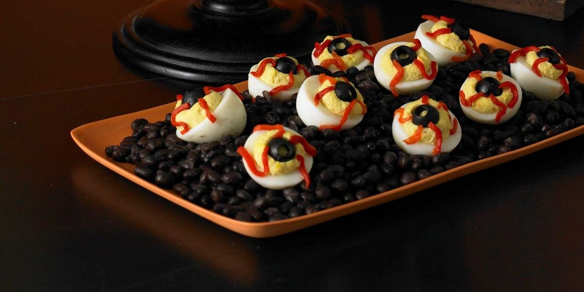 Bloodshot Deviled Eyeballs at Woman's Day - Halloween Recipes