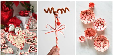 put your favorite holiday candies to good use with these creative crafts everyone can get in on plus get more easy christmas crafts - Candy Cane Christmas Tree Decorations