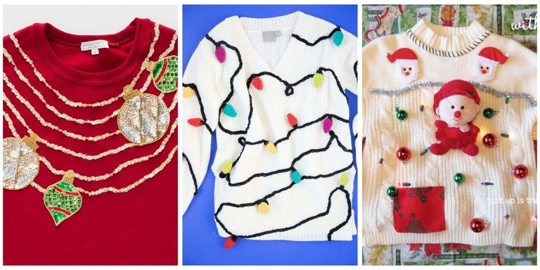 23 ugly christmas sweater ideas to buy and diy tacky christmas go full out this christmas with sweaters decorated in outgoing patterns and a whole lot of texture solutioingenieria Image collections