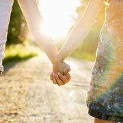 People in nature, Interaction, Denim, Sunlight, Gesture, Khaki, Holding hands, Love, Waist, People on beach,