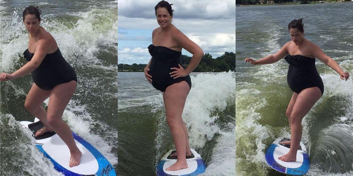 Amazing Woman Wakesurfs to Induce Labor While 40-Weeks ...