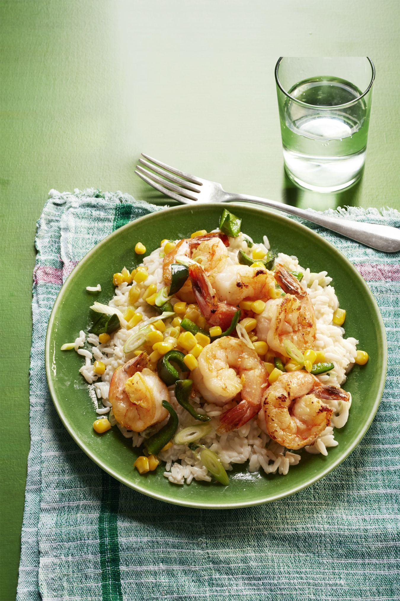 Sautéed Shrimp, Poblanos and Corn with Creamy Rice