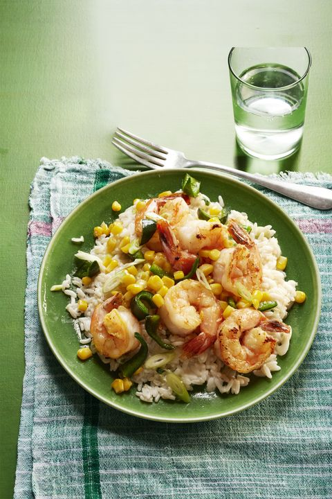 Sautéed Shrimp, Poblanos, and Corn with Creamy Rice 30-Minute Meal