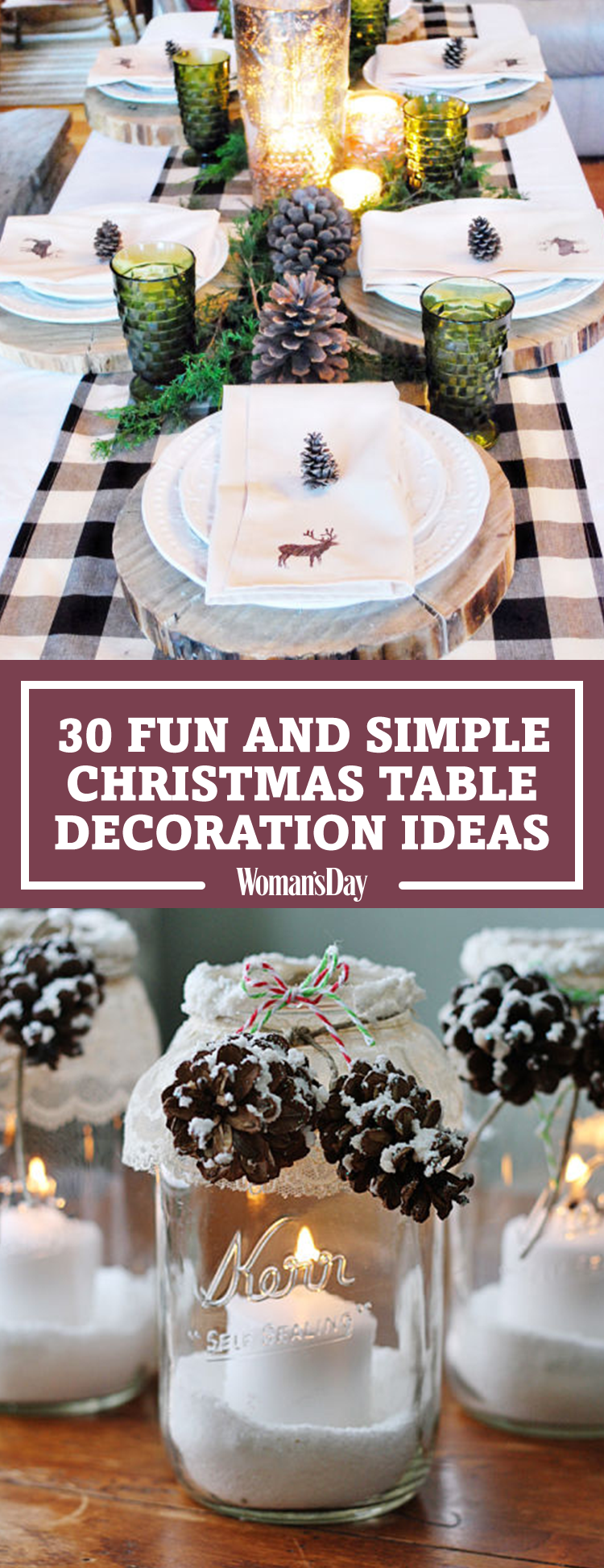 38 christmas table decorations centerpieces ideas for holiday table decor womans day - Simple Christmas Table Decorations