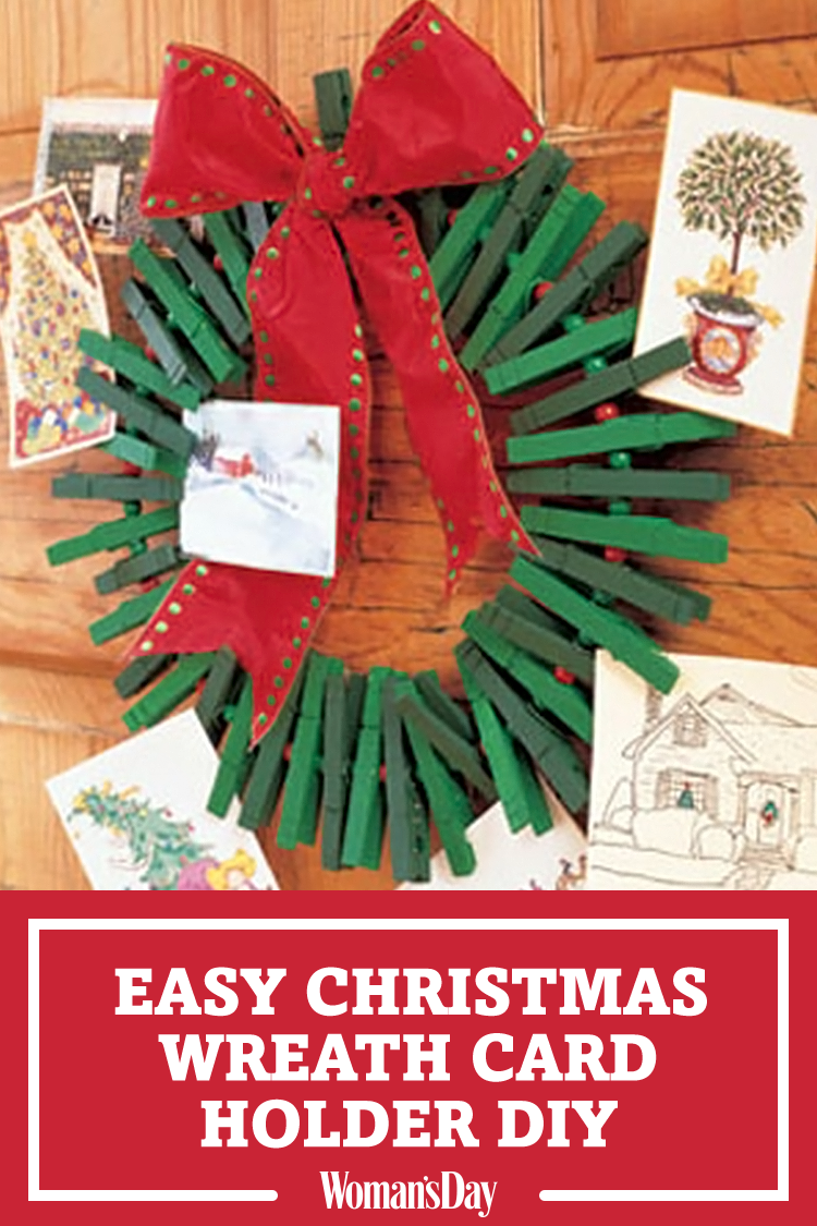 Hook Ends Together Or Tie With Thin Wire. Tie Bow. Wire Bow Over Joining.  Save This DIY Christmas Card Holder ...