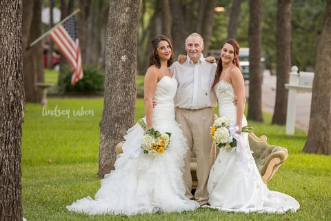 Clothing, Flag, Bridal clothing, Event, Trousers, Dress, Flag of the united states, Bride, Petal, Photograph,