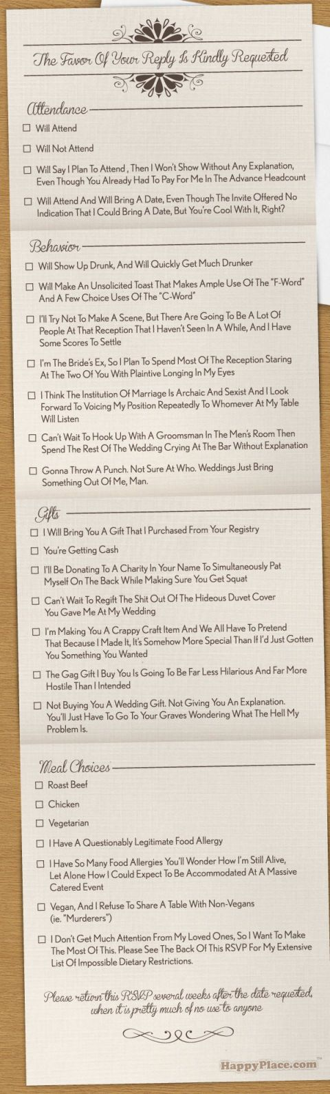 wedding rsvp card ideas brutally honest wedding invitations