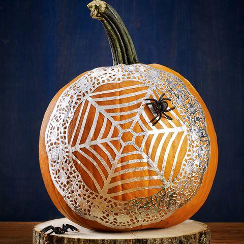 no carve pumpkin ideas - Spiderweb Pumpkin