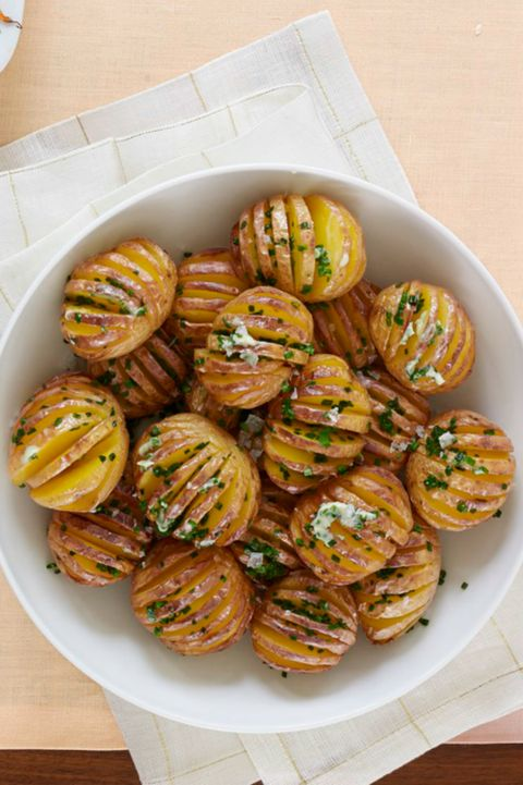 vegetarian recipes Mini Hasselback Potatoes with Chive Butter